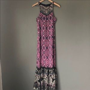 Express pink/black maxi dress